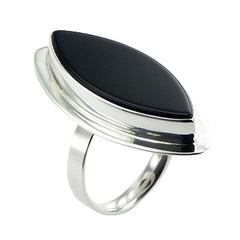Handmade marquise black agate gemstone polished sterling silver ring