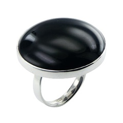 Round glossy black agate gemstone polished sterling silver ring