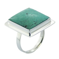 Handmade stunning square turquoise gemstone sterling silver ring