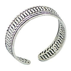 silver-toe-rings/antiqued-ribbed-toe-ring