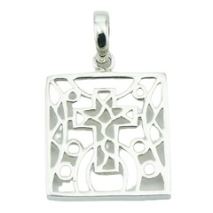 Plain silver pendant mosaic cross openwork, 1.2 inches