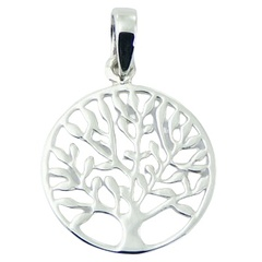 Silver ajoure tree of life pendant in round frame, 1 inch diameter