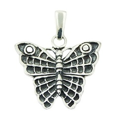 Antiqued detailed wings sterling silver butterfly pendant