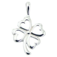 sterling-silver-pendants/polished-925-silver-clover
