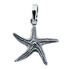 Detailed antiqued sterling silver starfish ornamented pendant