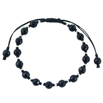 Shamballa bracelet with black agate and silver beads