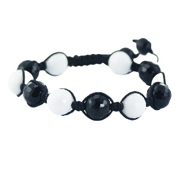 Shamballa bracelet with black and white agate