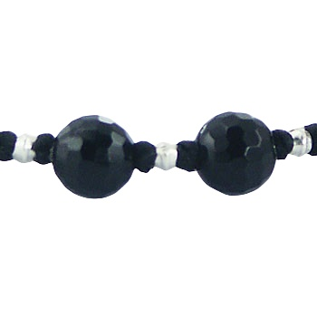 Shamballa bracelet with black agate and silver beads 2