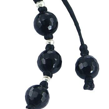 Shamballa bracelet with black agate and silver beads 3