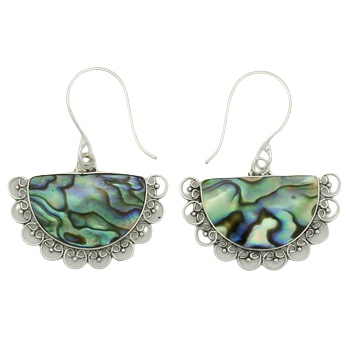 Abalone silver ornamented earrings