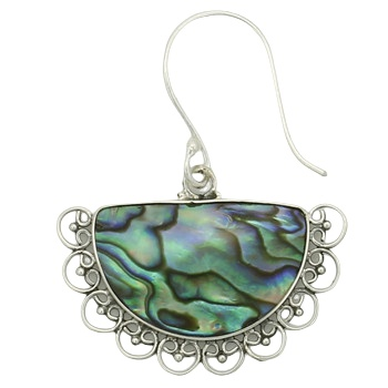 Abalone silver ornamented earrings 2