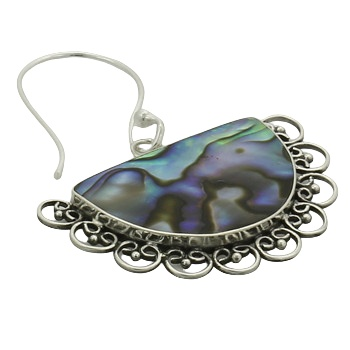 Abalone silver ornamented earrings 3