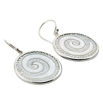 Twirled engraved MOP silver earrings
