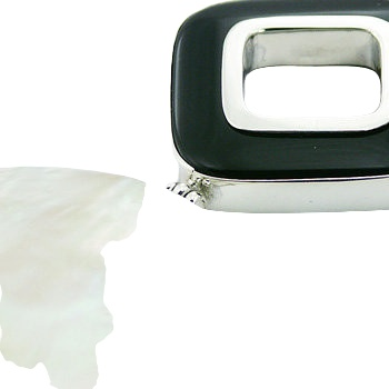 Mother or pearl black agate pendant 2