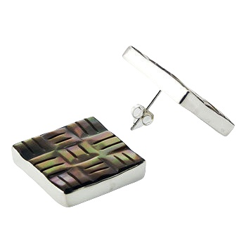 Square rainbow shell silver earrings