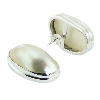 White convexed MOP silver earrings