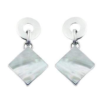 Donut post mother of pearl silver earrings