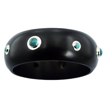 Black wood bracelet turquoise and silver inlay 2