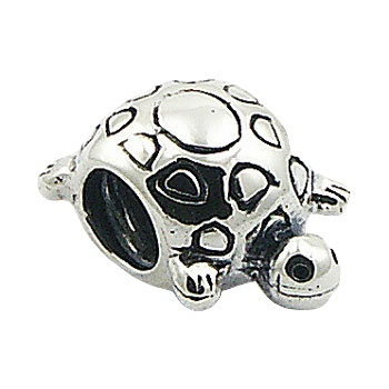 Animal themed turtle silver bead