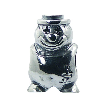Humorous clown figure casted silver bead
