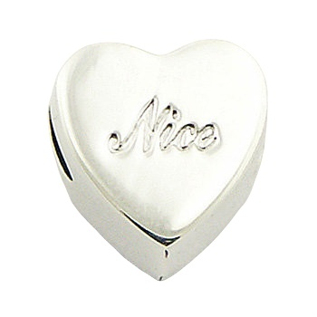 Heart shaped nice engraved silver bead
