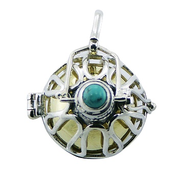 Silver chiming spheres harmony ball pendant