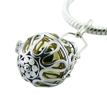 Silver chiming spheres harmony ball pendant 2