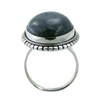 Oval blue coral ornate silver ring