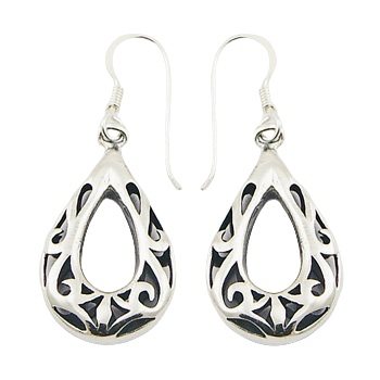 Ajoure drop shaped silver earrings