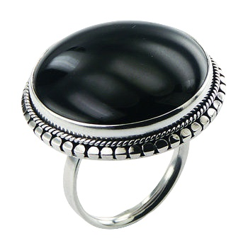 Black agate hand soldered silver ring