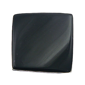 Diagonally convexed black agate silver ring