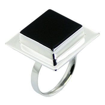 Handmade square black agate silver ring