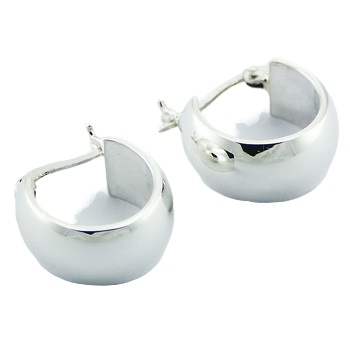 U-shaped polished silver hoop earrings