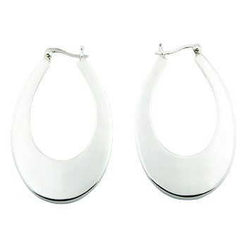 Classic ovate tapered silver earrings