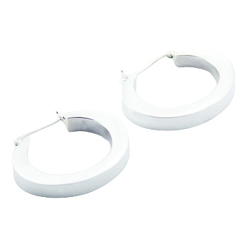 Edge tapered ovals silver earrings