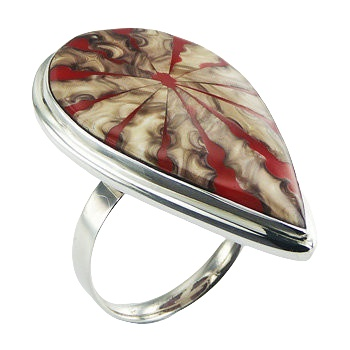 Red spider shell drop silver ring
