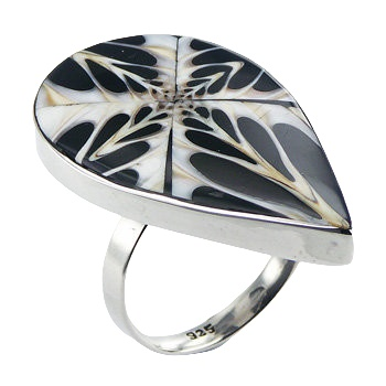 Black spider shell polished silver ring
