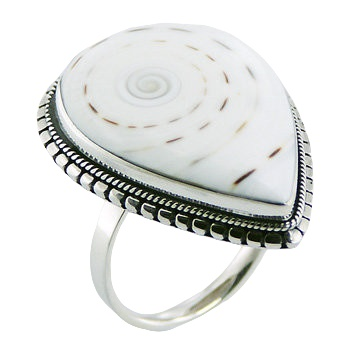 White conch shell hand soldered ring