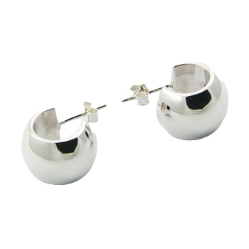 Beveled bands silver earrings