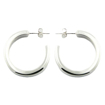 Shiny wide band silver stud earrings