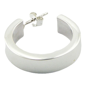 Shiny wide band silver stud earrings 2
