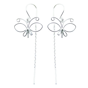 Airy wirework silver threader earrings
