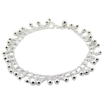 Silver linked chain anklet with tiny spheres