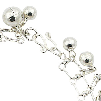 Silver linked chain anklet with tiny spheres 2