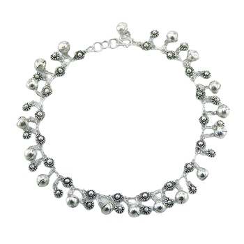 Silver anklet flowers & big spheres