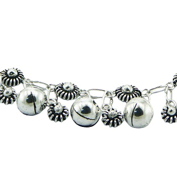 Silver anklet flowers & big spheres 2