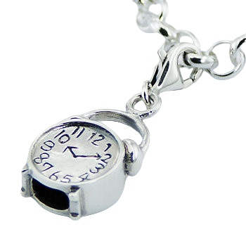 Alarm clock casted silver charm