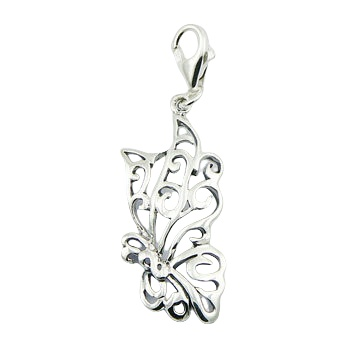 Ajoure butterfly sterling silver charm