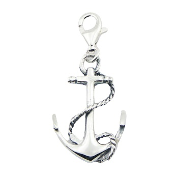 Nautic openwork anchor silver charm