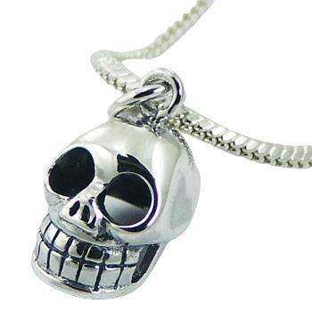 Skull sterling silver pendant, 0.7 inches total drop